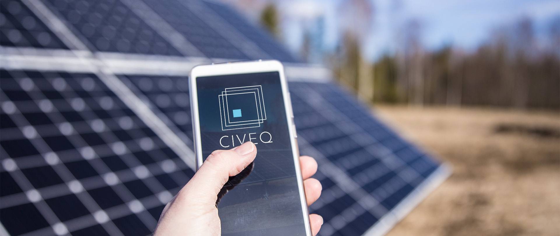 Civeq Smartphone App in Front of Solar Panels